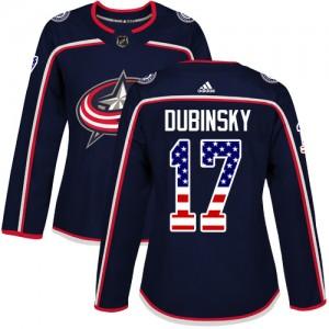 Brandon Dubinsky Columbus Blue Jackets Women's Adidas Authentic Navy Blue USA Flag Fashion Jersey