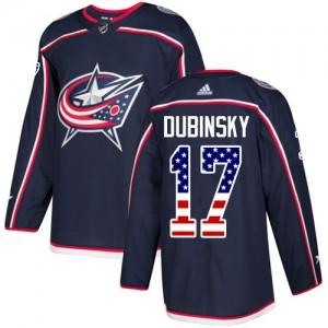 Brandon Dubinsky Columbus Blue Jackets Youth Adidas Authentic Navy Blue USA Flag Fashion Jersey