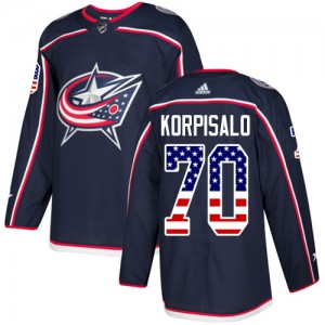 Joonas Korpisalo Columbus Blue Jackets Youth Adidas Authentic Navy Blue USA Flag Fashion Jersey