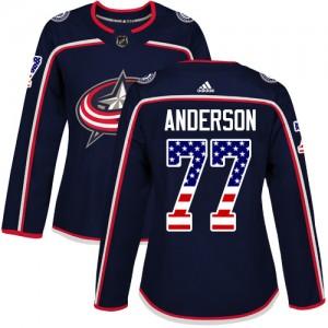 Josh Anderson Columbus Blue Jackets Women's Adidas Authentic Navy Blue USA Flag Fashion Jersey