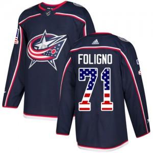 Nick Foligno Columbus Blue Jackets Men's Adidas Authentic Navy Blue USA Flag Fashion Jersey