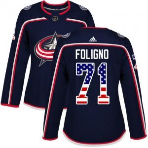Nick Foligno Columbus Blue Jackets Women's Adidas Authentic Navy Blue USA Flag Fashion Jersey