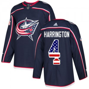 Scott Harrington Columbus Blue Jackets Men's Adidas Authentic Navy Blue USA Flag Fashion Jersey
