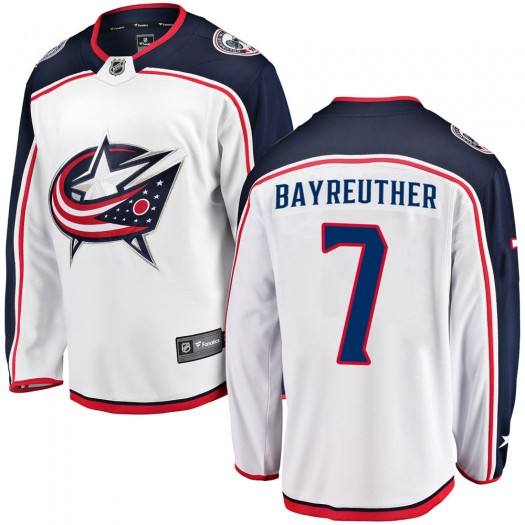 Gavin Bayreuther Columbus Blue Jackets Men's Fanatics Branded White Breakaway Away Jersey