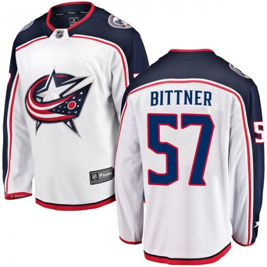 Paul Bittner Columbus Blue Jackets Men's Fanatics Branded White Breakaway Away Jersey