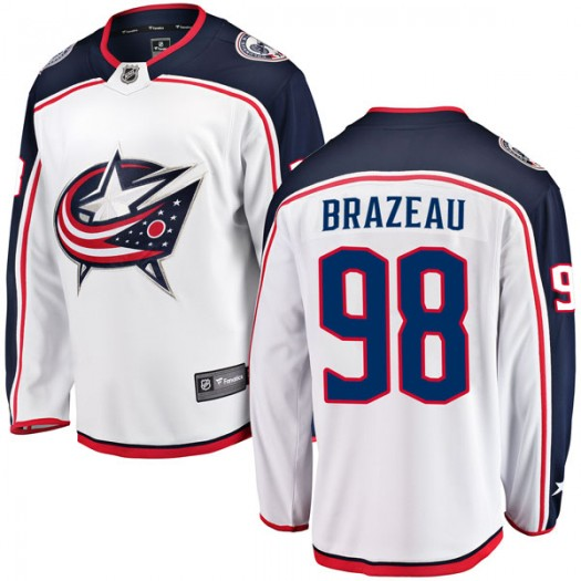 Justin Brazeau Columbus Blue Jackets Men's Fanatics Branded White Breakaway Away Jersey