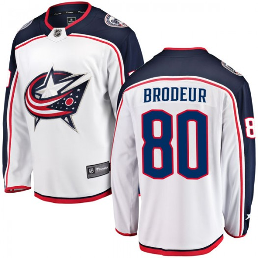 Jeremy Brodeur Columbus Blue Jackets Men's Fanatics Branded White Breakaway Away Jersey