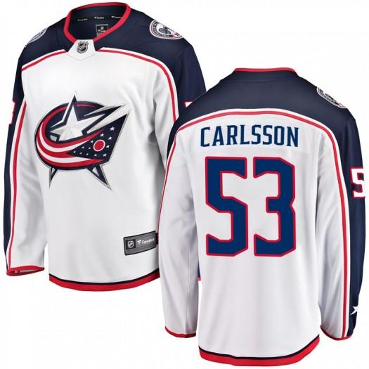 Gabriel Carlsson Columbus Blue Jackets Men's Fanatics Branded White Breakaway Away Jersey