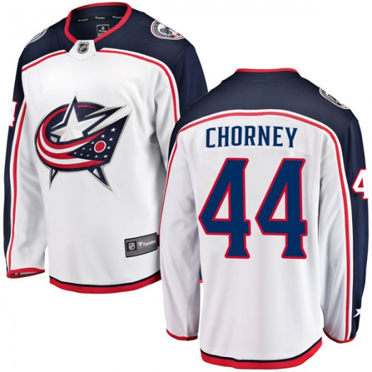 Taylor Chorney Columbus Blue Jackets Men's Fanatics Branded White Breakaway Away Jersey