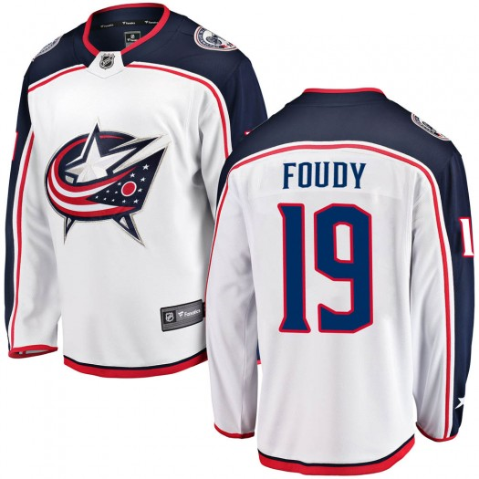 Liam Foudy Columbus Blue Jackets Men's Fanatics Branded White ized Breakaway Away Jersey