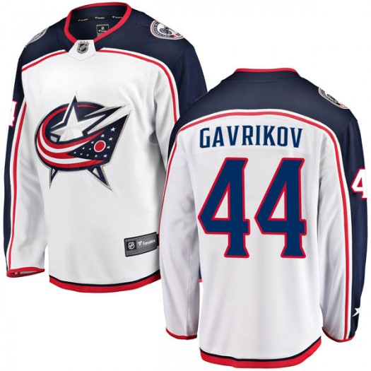 Vladislav Gavrikov Columbus Blue Jackets Men's Fanatics Branded White Breakaway Away Jersey