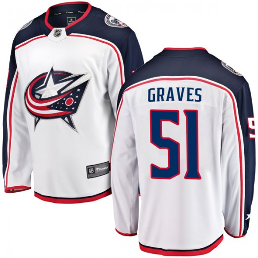 Jacob Graves Columbus Blue Jackets Men's Fanatics Branded White Breakaway Away Jersey