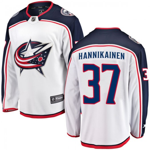Markus Hannikainen Columbus Blue Jackets Men's Fanatics Branded White Breakaway Away Jersey