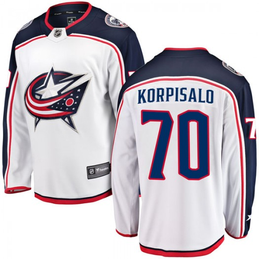 Joonas Korpisalo Columbus Blue Jackets Men's Fanatics Branded White Breakaway Away Jersey