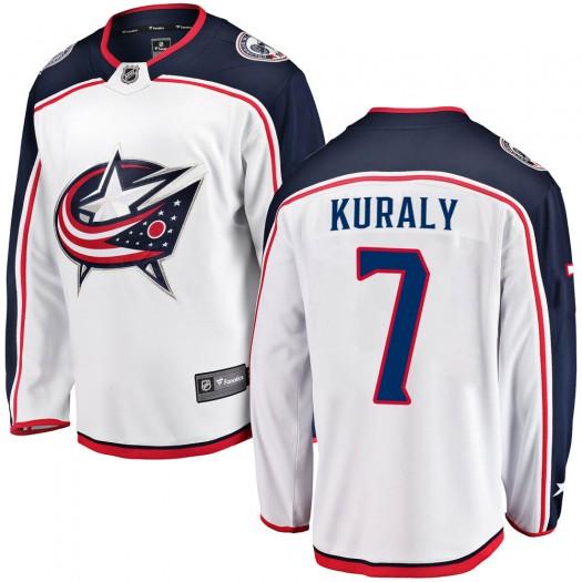 Sean Kuraly Columbus Blue Jackets Men's Fanatics Branded White Breakaway Away Jersey