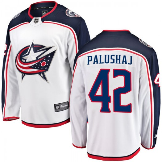 Aaron Palushaj Columbus Blue Jackets Men's Fanatics Branded White Breakaway Away Jersey
