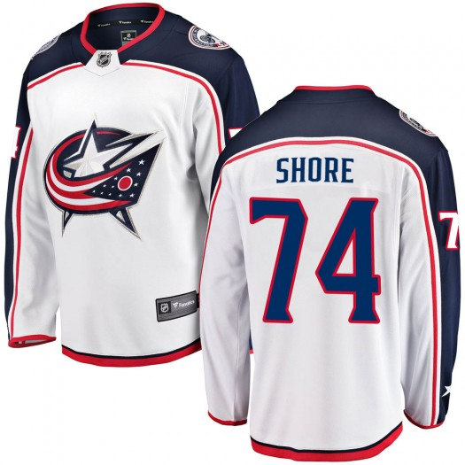 Devin Shore Columbus Blue Jackets Men's Fanatics Branded White ized Breakaway Away Jersey