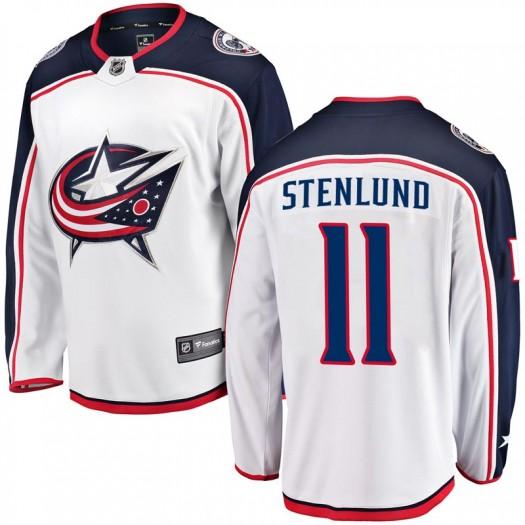 Kevin Stenlund Columbus Blue Jackets Men's Fanatics Branded White Breakaway Away Jersey
