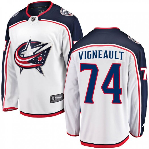 Sam Vigneault Columbus Blue Jackets Men's Fanatics Branded White Breakaway Away Jersey