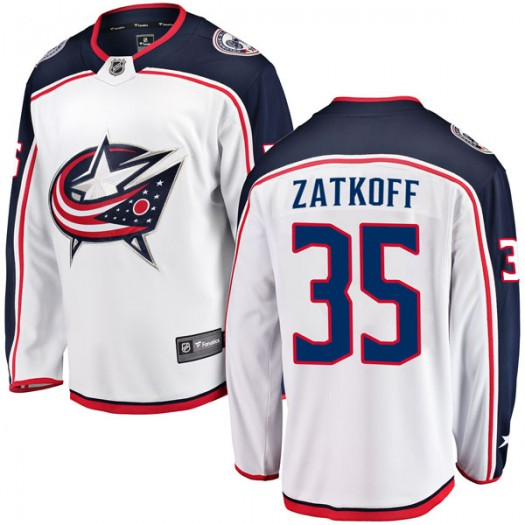 Jeff Zatkoff Columbus Blue Jackets Men's Fanatics Branded White Breakaway Away Jersey