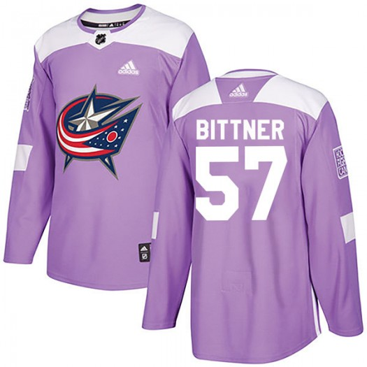 Paul Bittner Columbus Blue Jackets Youth Adidas Authentic Purple Fights Cancer Practice Jersey