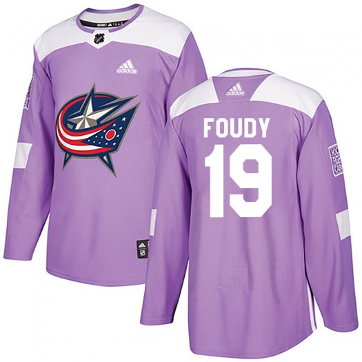 Liam Foudy Columbus Blue Jackets Youth Adidas Authentic Purple ized Fights Cancer Practice Jersey
