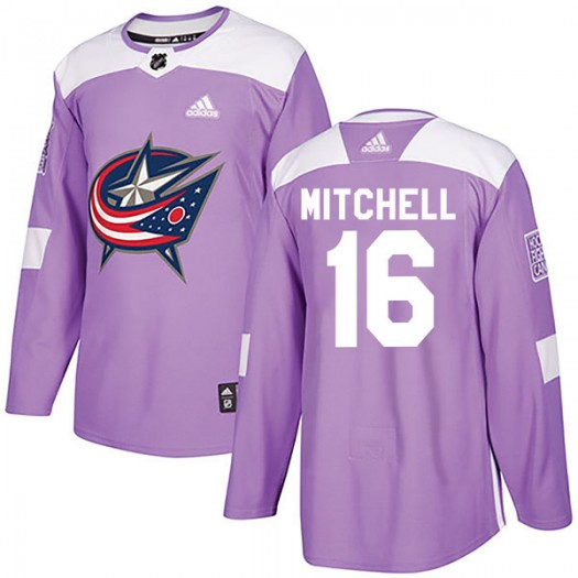 John Mitchell Columbus Blue Jackets Youth Adidas Authentic Purple Fights Cancer Practice Jersey