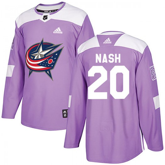 Riley Nash Columbus Blue Jackets Youth Adidas Authentic Purple Fights Cancer Practice Jersey