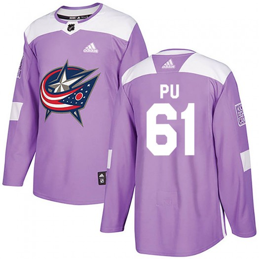 Cliff Pu Columbus Blue Jackets Youth Adidas Authentic Purple Fights Cancer Practice Jersey