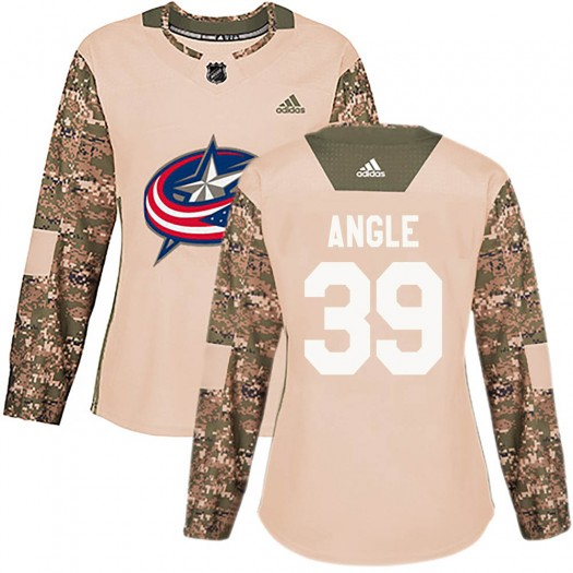 Tyler Angle Columbus Blue Jackets Women's Adidas Authentic Camo Veterans Day Practice Jersey