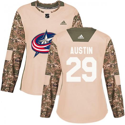Brady Austin Columbus Blue Jackets Women's Adidas Authentic Camo Veterans Day Practice Jersey