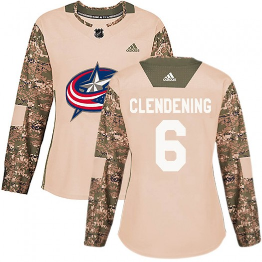 Adam Clendening Columbus Blue Jackets Women's Adidas Authentic Camo Veterans Day Practice Jersey