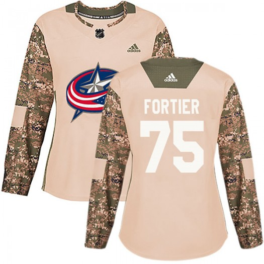 Maxime Fortier Columbus Blue Jackets Women's Adidas Authentic Camo Veterans Day Practice Jersey