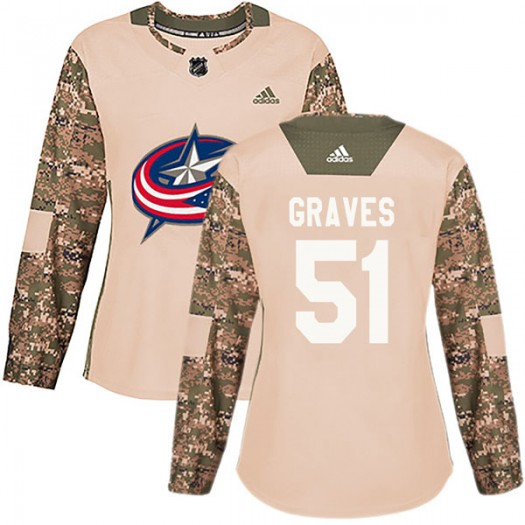 Jacob Graves Columbus Blue Jackets Women's Adidas Authentic Camo Veterans Day Practice Jersey