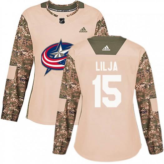 Jakob Lilja Columbus Blue Jackets Women's Adidas Authentic Camo Veterans Day Practice Jersey