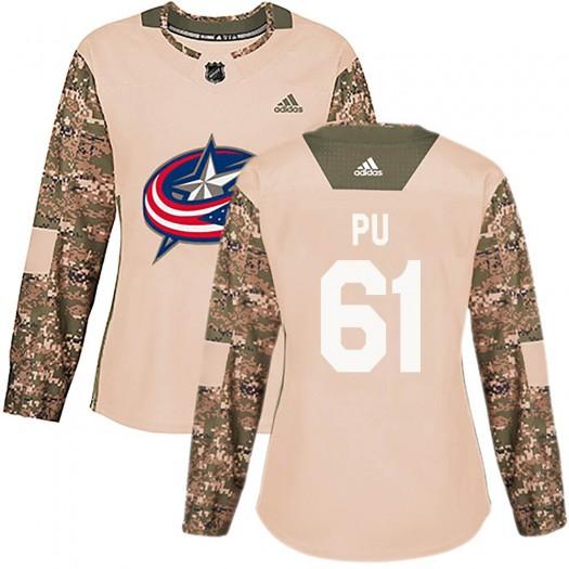 Cliff Pu Columbus Blue Jackets Women's Adidas Authentic Camo Veterans Day Practice Jersey