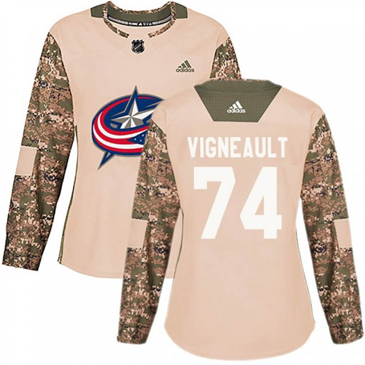 Sam Vigneault Columbus Blue Jackets Women's Adidas Authentic Camo Veterans Day Practice Jersey