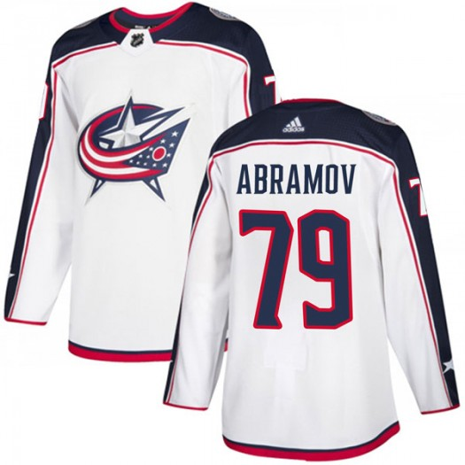 Vitaly Abramov Columbus Blue Jackets Men's Adidas Authentic White Away Jersey