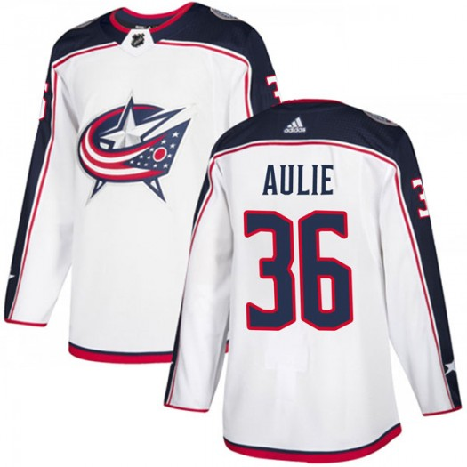 Keith Aulie Columbus Blue Jackets Men's Adidas Authentic White Away Jersey
