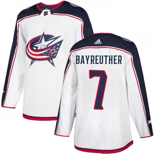 Gavin Bayreuther Columbus Blue Jackets Men's Adidas Authentic White Away Jersey