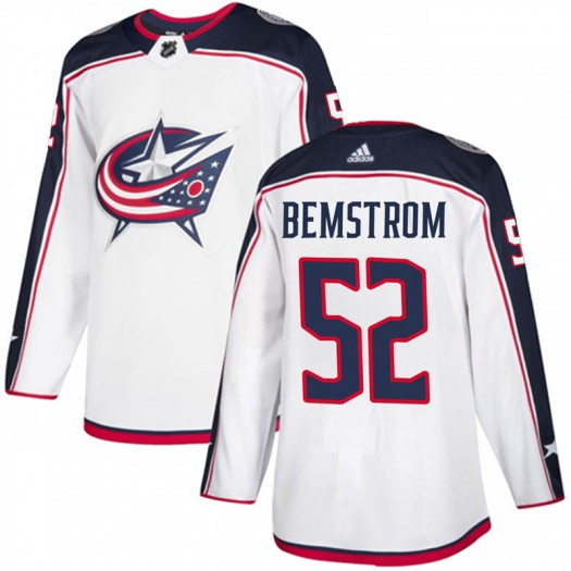 Emil Bemstrom Columbus Blue Jackets Men's Adidas Authentic White Away Jersey