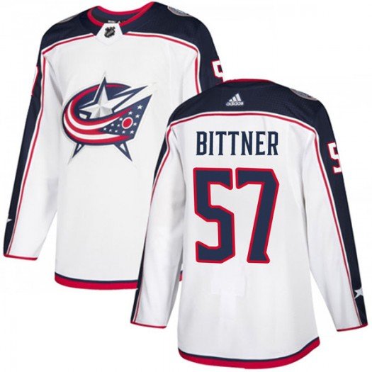 Paul Bittner Columbus Blue Jackets Men's Adidas Authentic White Away Jersey