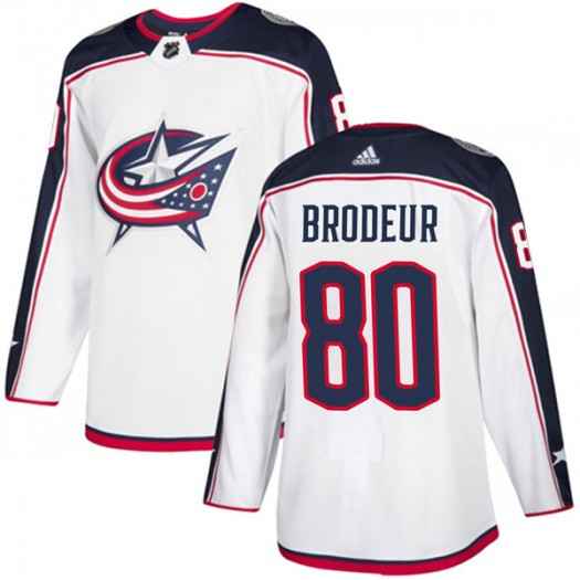 Jeremy Brodeur Columbus Blue Jackets Men's Adidas Authentic White Away Jersey