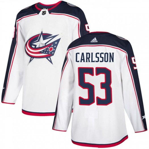 Gabriel Carlsson Columbus Blue Jackets Men's Adidas Authentic White Away Jersey