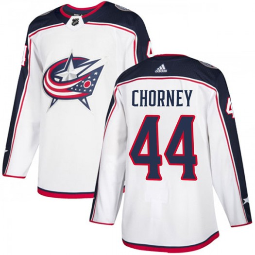Taylor Chorney Columbus Blue Jackets Men's Adidas Authentic White Away Jersey