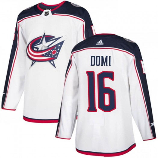 Max Domi Columbus Blue Jackets Men's Adidas Authentic White Away Jersey