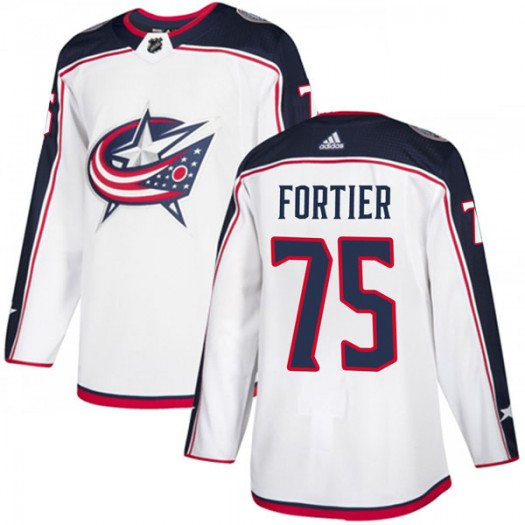 Maxime Fortier Columbus Blue Jackets Men's Adidas Authentic White Away Jersey