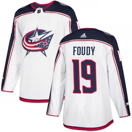 Liam Foudy Columbus Blue Jackets Men's Adidas Authentic White ized Away Jersey
