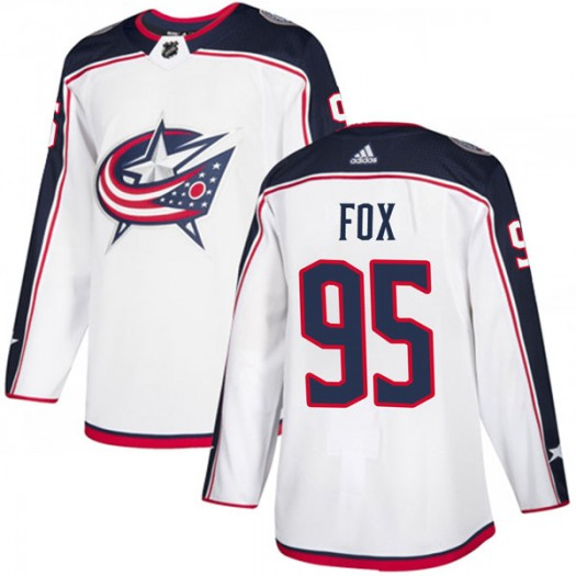 Trent Fox Columbus Blue Jackets Men's Adidas Authentic White Away Jersey