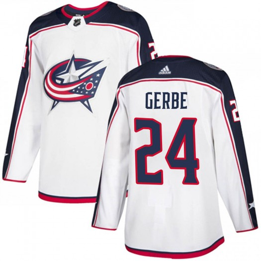 Nathan Gerbe Columbus Blue Jackets Men's Adidas Authentic White Away Jersey